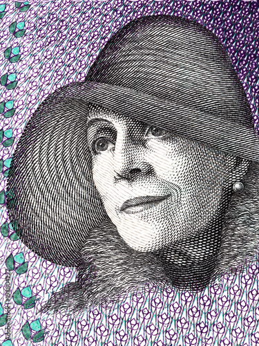 Photo  Karen Blixen portrait from Danish money