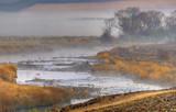 RIVERSIDE TRAIL . Winter morning on the Umzimkulu River, Underberg, Kwazulu Natal, South Africa. - 198804650