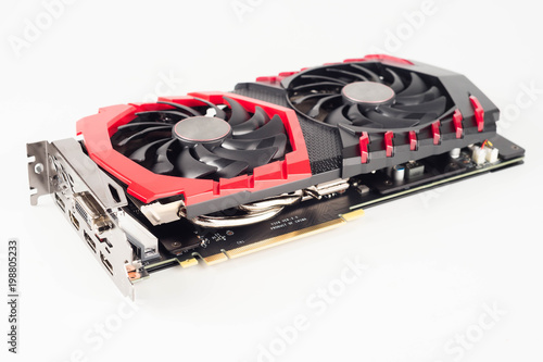 Graphic video card for crypto currency mining on white Canvas Print