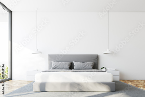 Slika na platnu White bedroom bed front view