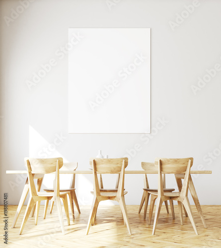 Fotomural  White dining room interior, poster