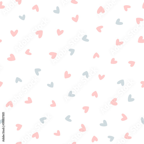 obraz PCV Repeated hearts drawn by hand. Cute seamless pattern. Endless romantic print.