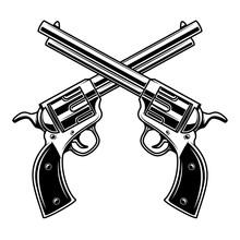 Emblem Template With Crossed Revolvers. Design Element For Logo, Label, Emblem, Sign.