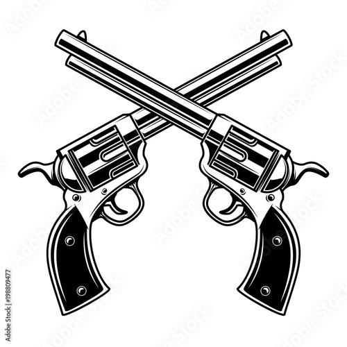 Obraz na plátně Emblem template with crossed revolvers