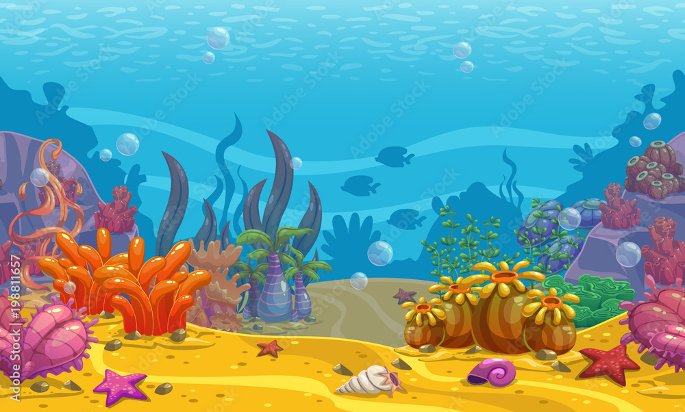 Fototapeta Cartoon seamless underwater background.