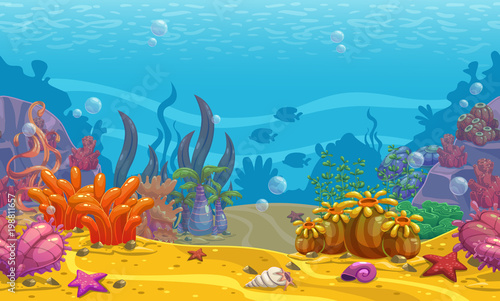 Fotografie, Obraz  Cartoon seamless underwater background.
