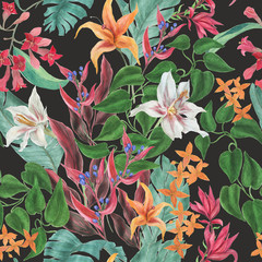 Fototapeta Watercolor painting seamless pattern with beautiful tropical flowers on dark background