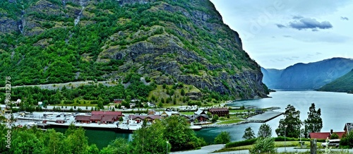 City on the water Norway-panoramic view on the port in town Flam