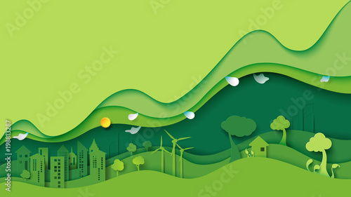 Foto op Canvas Lime groen Ecology and environment conservation creative idea concept design.Green eco urban city and nature landscape background paper art style.Vector illustration.