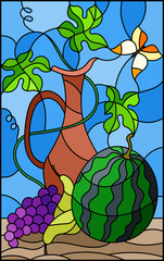 Naklejka Illustration in stained glass style with still life, fruits, berries and pitcher on blue background