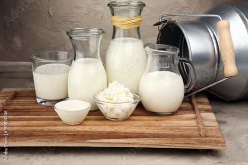 Staande foto Zuivelproducten milk products. tasty healthy dairy products on a table on