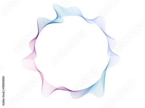 Photo  Abstract flowing wave lines colorful circle frame with space for text isolated on white background