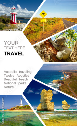 Cadres-photo bureau Océanie Photo collage of Australia. Great Ocean Road. Twelve Apostles. Travel