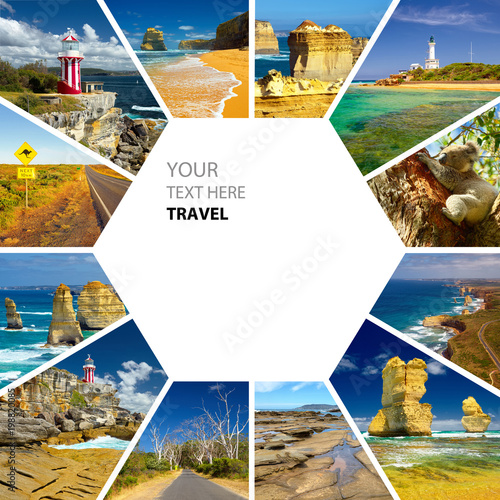 Poster de jardin Océanie Photo collage of Australia. Great Ocean Road. Twelve Apostles. Travel