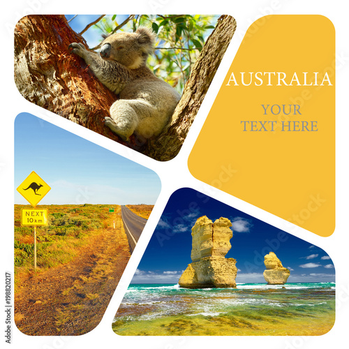 Photo sur Toile Océanie Photo collage of Australia. Great Ocean Road. Twelve Apostles. Travel
