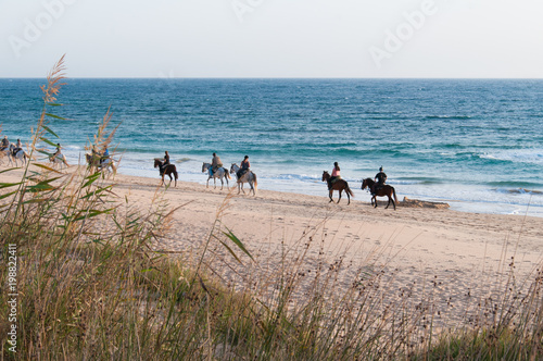 Fototapeta People horseback riding on shore by intense blue sea in Zahora beach, South Spain. Tourism attraction, outdoor activity concept obraz