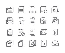 Minimal Set Of Document And File Line Icons