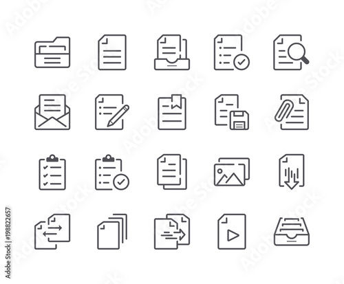 Fotografía Minimal Set of Document and File Line Icons