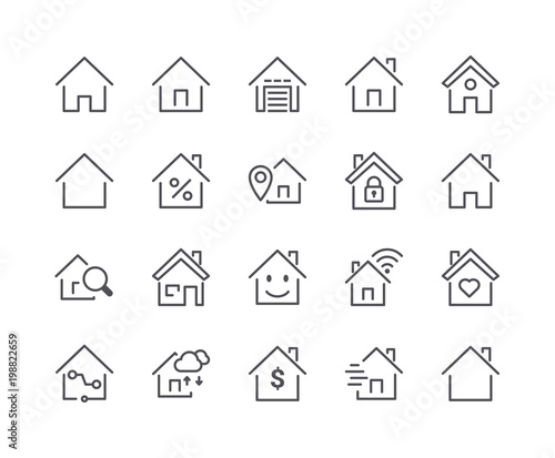 Minimal Set of Smart Home Line Icons. Editable Stroke. Wall mural