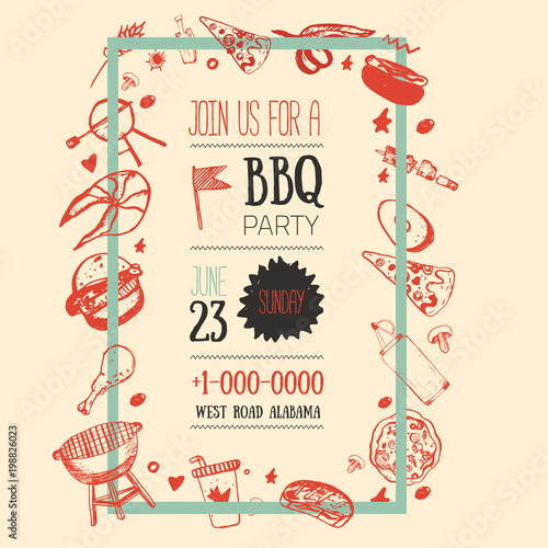 Barbecue Flyer Template For Your Party With Grunge Icons And Frame