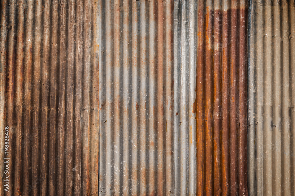 Fototapety, obrazy: Rusty and corrugated iron metal construction site wall texture background with vignette.