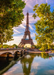 canvas print picture - Paris Eiffel Tower and river Seine in Paris, France. Eiffel Tower is one of the most iconic landmarks of Paris