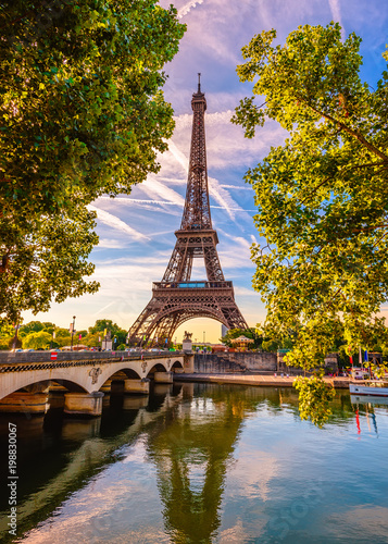plakat Paris Eiffel Tower and river Seine in Paris, France. Eiffel Tower is one of the most iconic landmarks of Paris