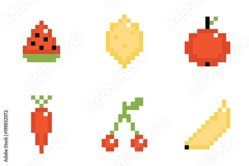 Foto op Aluminium Pixel Set, collection of pixel fruits and vegetables isolated on white background.