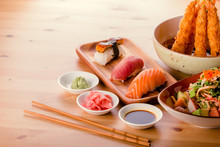 Japanese Food Combination, Sushi Nigiri, Gyoza, Crab Salad And Fried King Prawns