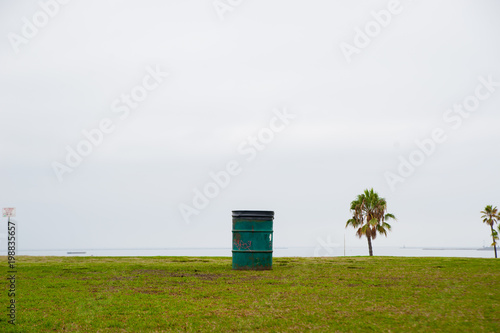 Fototapety, obrazy: Trash Bin at the park around Long Beach, California. California is known with a good wether.