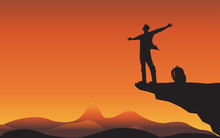 Sillhouette Man On Mountain Cl...