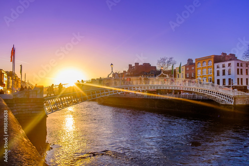 Ha'penny bridge over the river Liffey at sunset, Dublin Ireland, March 2018 Canvas Print