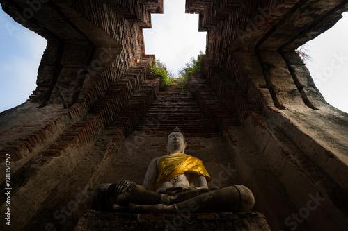 Poster Boeddha Buddha ancient, Nakorn luang Temple, Ayutthaya, Thailand