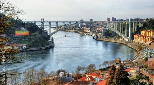 Panoramic view over Arrabida bridge in Oporto, Portugal