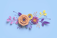 3d Rendering, Paper Flowers, Botanical Background, Floral Border, Pastel Candy Colors, Papercraft