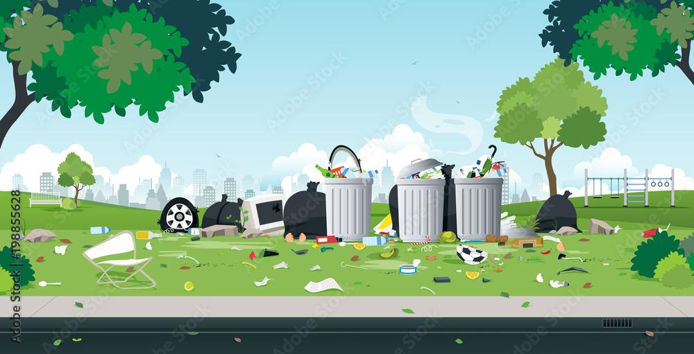 Fototapeta The garbage that was dumped in the roadside park.