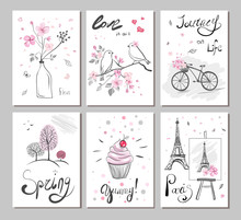 Set Vector Cards With Hand Dra...