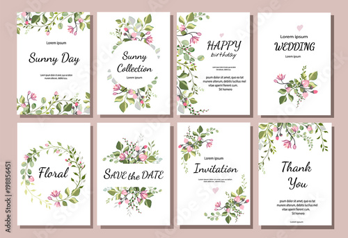 Foto  botanic card with wild flowers, leaves