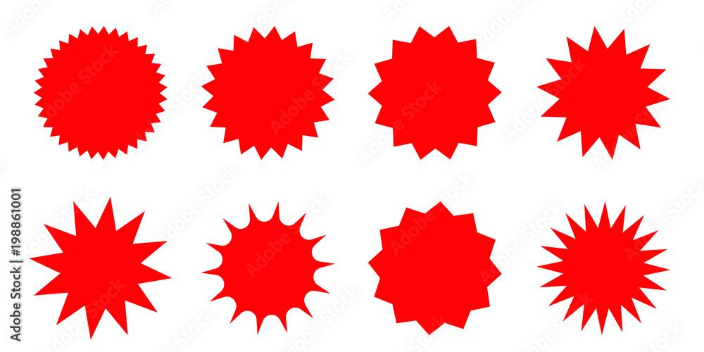 Fototapety, obrazy: Set of red starburst, sunburst badges. Design elements - best for sale sticker, price tag, quality mark. Flat vector illustration isolated on white background.
