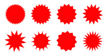 Set Of Red Starburst, Sunburst Badges. Design Elements - Best For Sale Sticker, Price Tag, Quality Mark. Flat Vector Illustration Isolated On White Background.