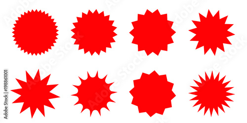 Fotografie, Obraz  Set of red starburst, sunburst badges