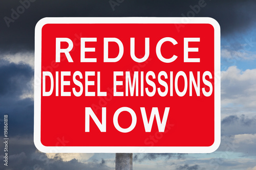 Fotografie, Obraz  warning sign REDUCE DIESEL EMISSIONS NOW