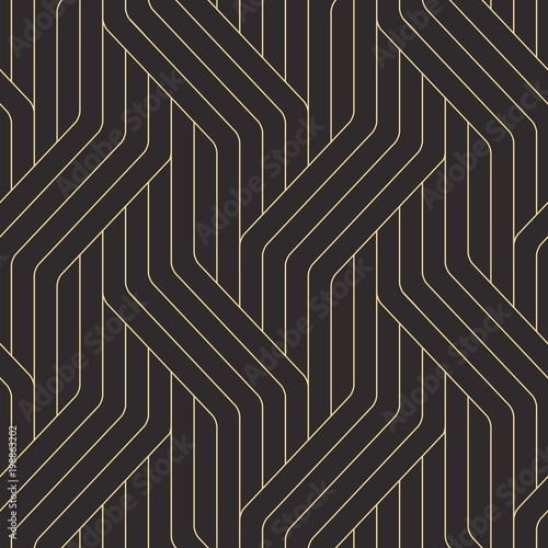 Fototapeten Künstlich Seamless black and gold ornate complex art deco rounded lines pattern vector