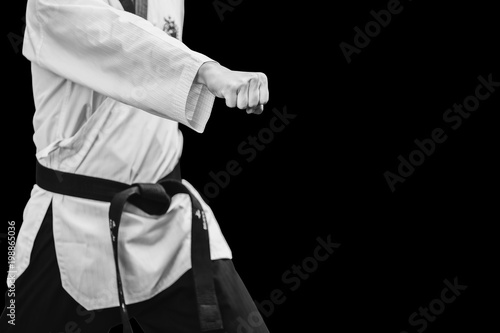 Obrazy Taekwondo   taekwondo-traditional-korean-male-fighter-punch-fist-isolated-on-black
