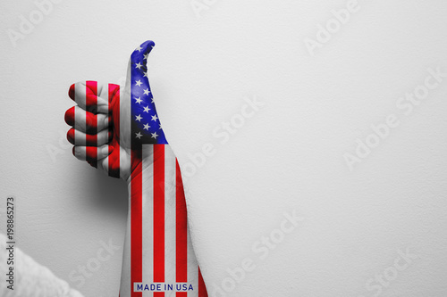 hand thumbs up paint american flag for good best country of USA concept Canvas Print
