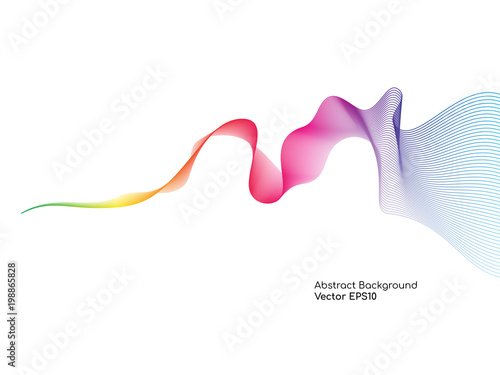 Obraz Abstract colorful wavy lines smooth curve isolated on white background for design elements in concept technology, science, music, modern - fototapety do salonu