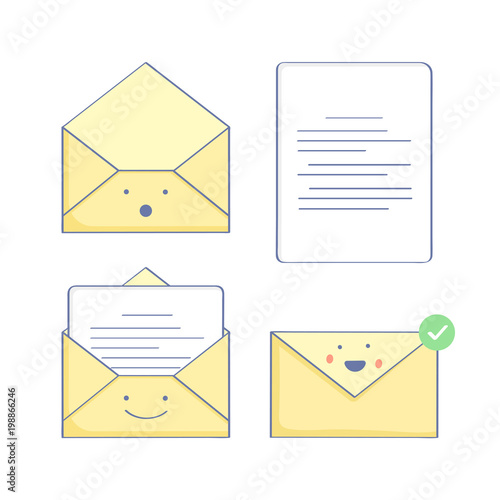 set of mail icons with a letter in different status open envelope send letter