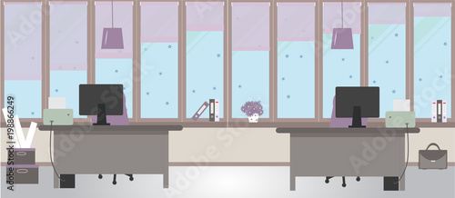 The Winter Office On A Light Pink Background Vector Illustration