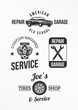 Set of car repair badges