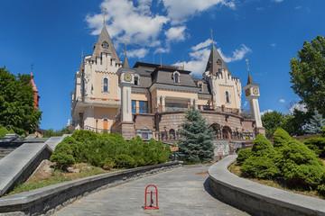 Fototapeta na wymiar Building children's puppet theater in the form of a castle. Kiev, Ukraine